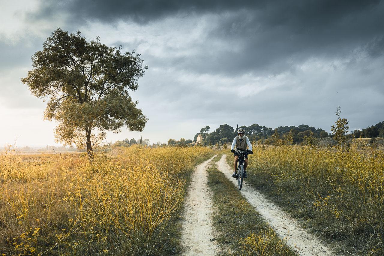 Randonneur à vélo dans la nature